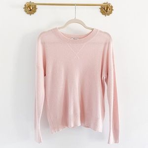 Madewell 100% Cashmere Pink Waffle Sweatshirt